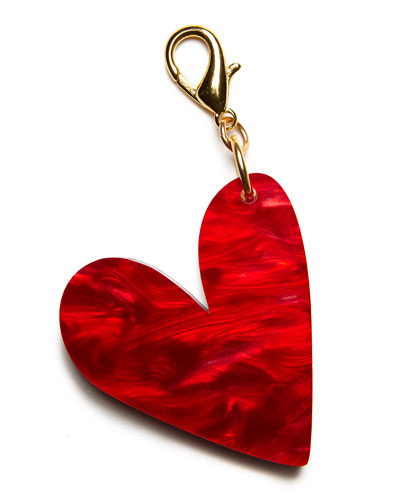 Heart Bag Charm, Gold/Red