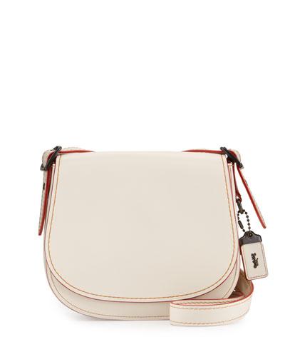 23 Leather Saddle Bag, Chalk