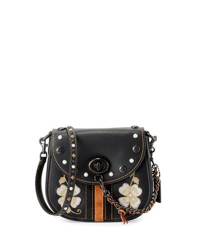 23 Western-Embroidered Leather Saddle Bag, Black