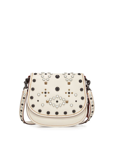17 Western-Rivet Leather Saddle Bag, Chalk