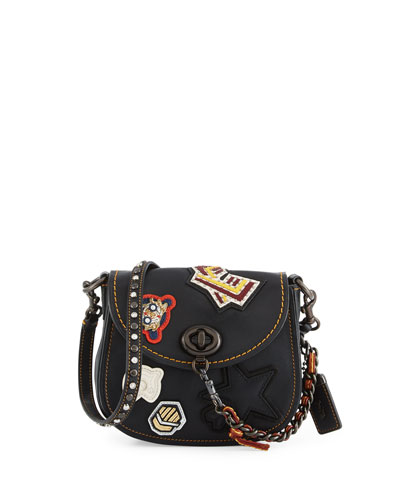 17 Varsity-Patch Leather Saddle Bag, Black