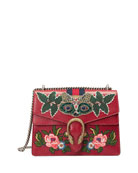 Dionysus Medium Raccoon-Embroidered Shoulder Bag, Red/Multi