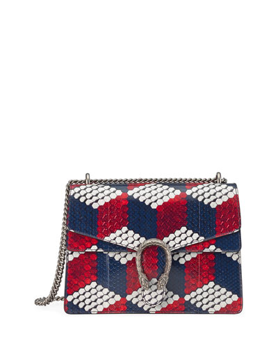 Dionysus Medium Cubic-Python Shoulder Bag, Red/White/Blue