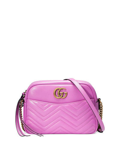GG Marmont 2.0 Medium Quilted Camera Bag, Bright Pink