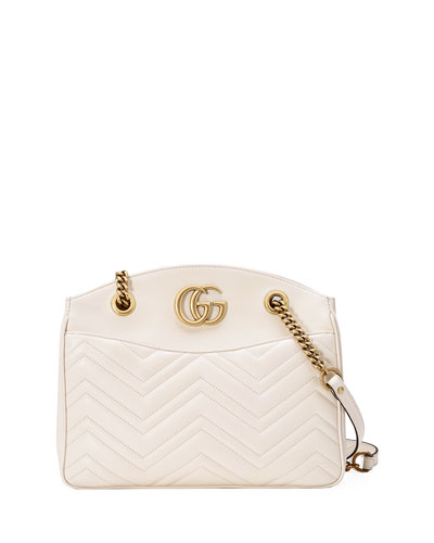 GG Marmont 2.0 Medium Quilted Shoulder Bag, White