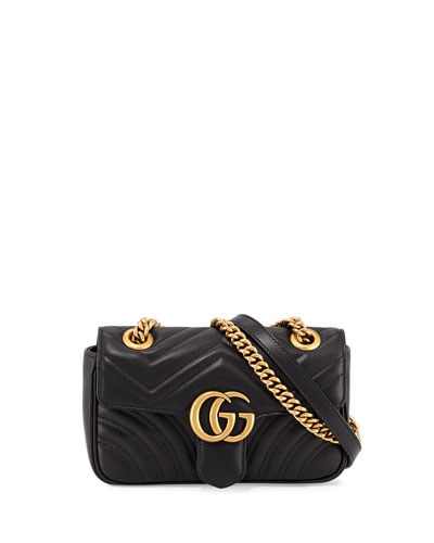 GG Marmont 2.0 Mini Quilted Leather Crossbody Bag, Black