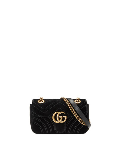 GG Marmont 2.0 Mini Quilted Velvet Crossbody Bag, Black