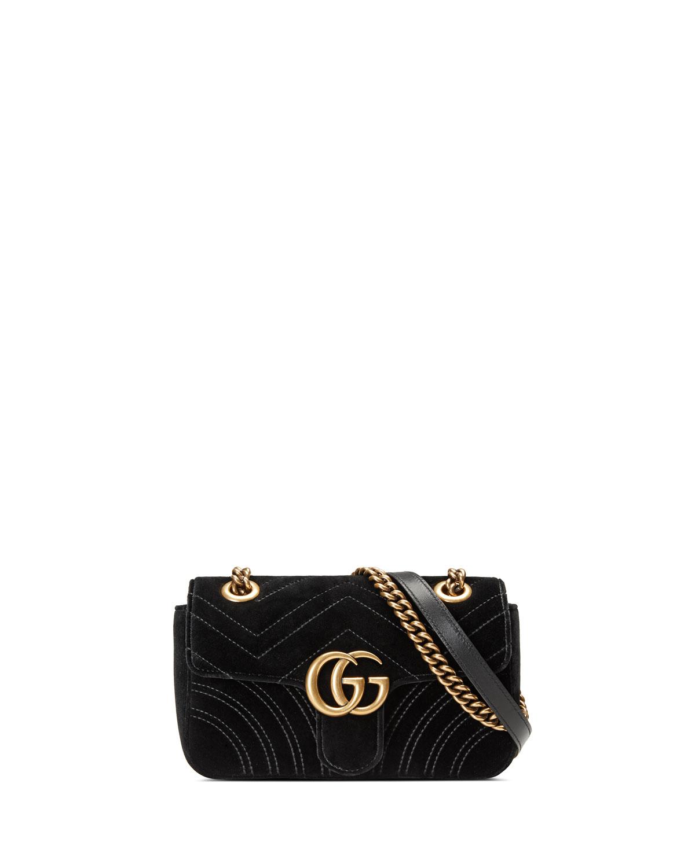 GG Marmont Mini Quilted Velvet Crossbody Bag, Black