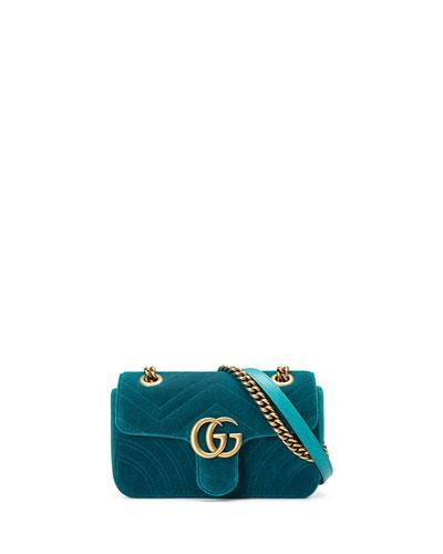 GG Marmont 2.0 Mini Quilted Velvet Crossbody Bag, Teal