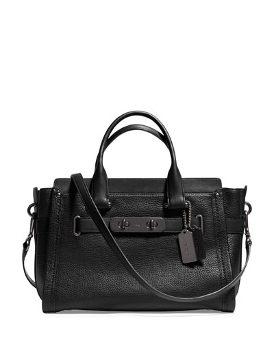 Swagger Pebbled Leather Satchel Bag, Black