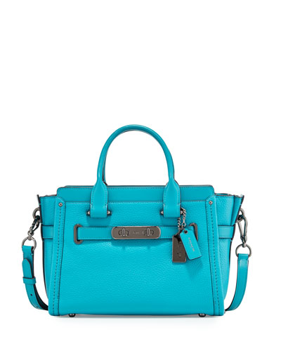 Swagger 27 Leather Satchel Bag, Turquoise