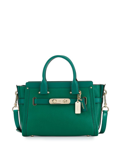 Swagger 27 Leather Satchel Bag, Forrest