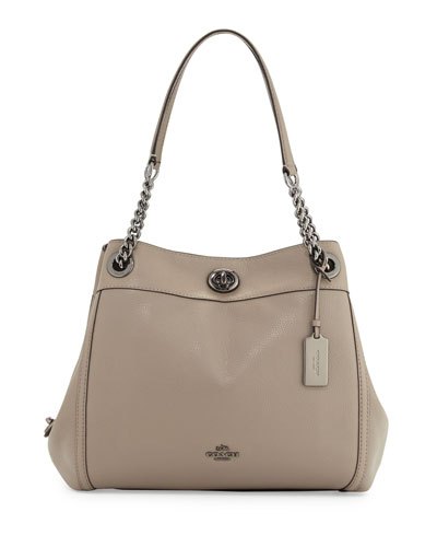 Turnlock Edie Leather Shoulder Bag, Fog