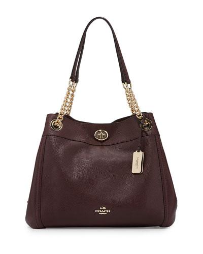 Turnlock Edie Leather Shoulder Bag, Oxblood