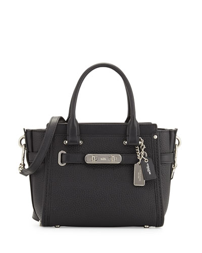 Swagger 21 Leather Satchel Bag, Black