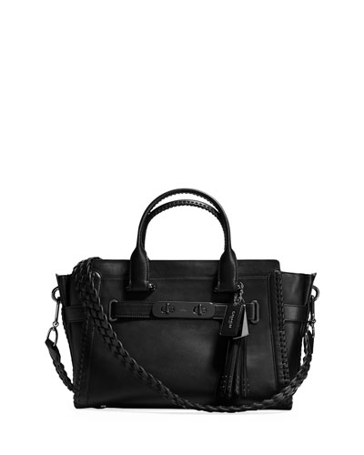 Swagger Whipstitch Leather Satchel Bag, Black