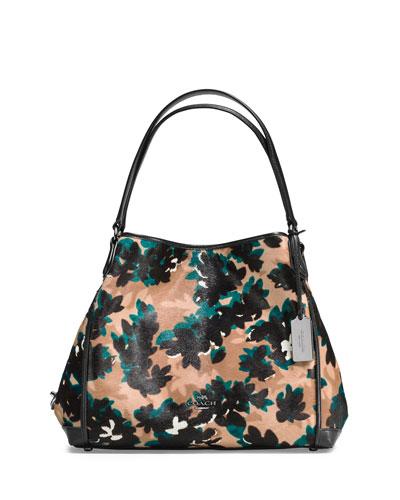 Edie 31 Calf-Hair Shoulder Bag, Scatter Leaf/Walnut/Multi