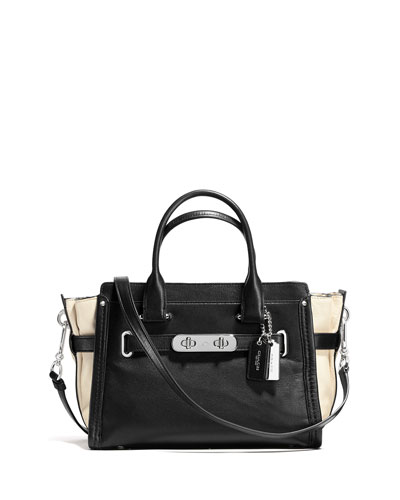 Swagger 27 Colorblock Leather Satchel Bag, Black/Chalk