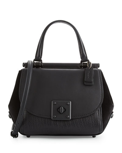 Drifter Leather Top-Handle Satchel Bag, Black