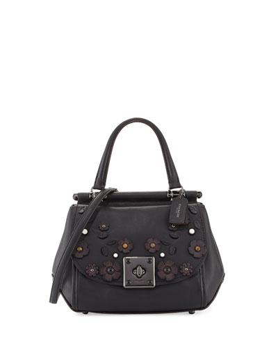 Drifter Floral Top-Handle Bag, Black