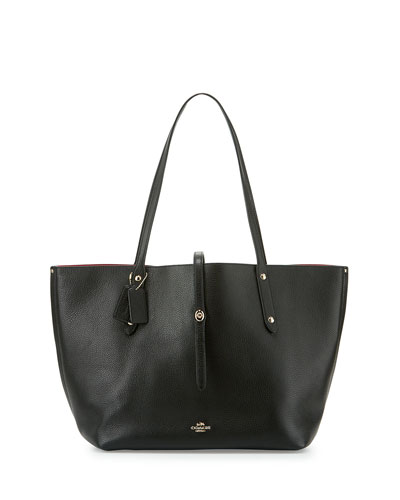 Market Leather Tote Bag, Black/True Red