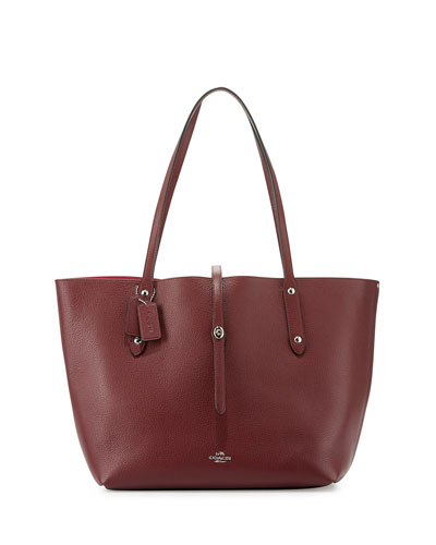 Market Leather Tote Bag, Burgundy/Cerise