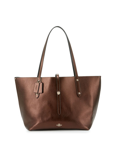 Market Leather Tote Bag, Bronze/Black