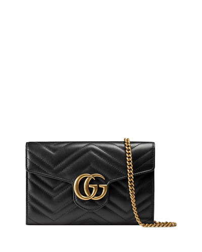 GG Marmont 2.0 Medium Quilted Wallet-on-Chain, Black
