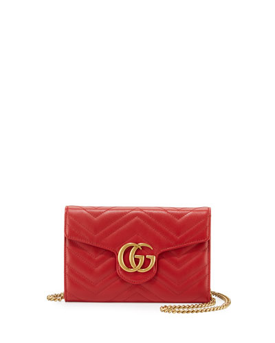 GG Marmont Mini Matelassé Chain Bag, Hibiscus Red