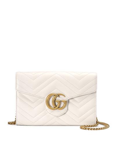 GG Marmont Mini Matelassé Chain Bag, White