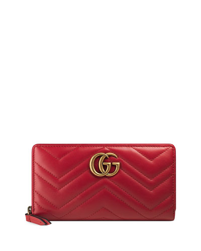 GG Marmont Medium Quilted Zip Wallet, Red