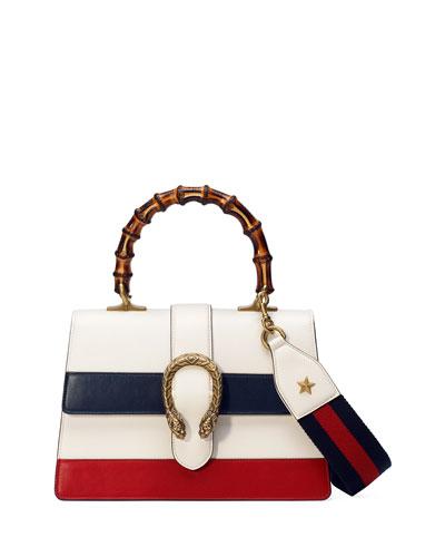 Dionysus Small Web-Stripe Top-Handle Satchel Bag, White