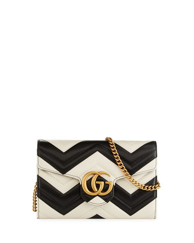 GG Marmont Matelassé Mini Bag, White/Black