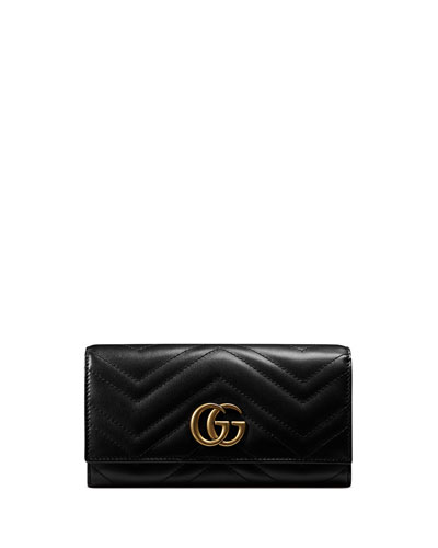 GG Marmont Medium Quilted Flap Wallet, Black