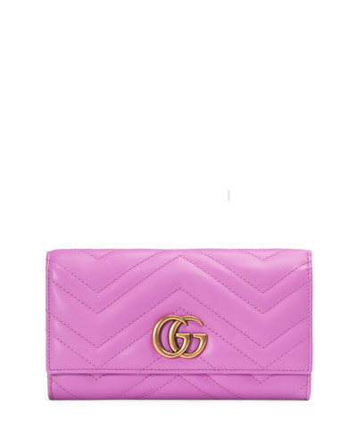 GG Marmont 2.0 Medium Quilted Flap Wallet, Bright Pink
