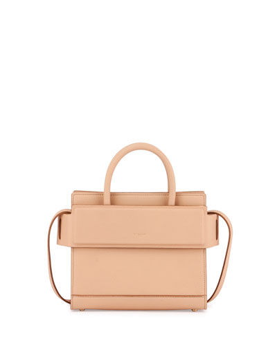 Horizon Mini Grain Leather Satchel Bag, Beige Pink