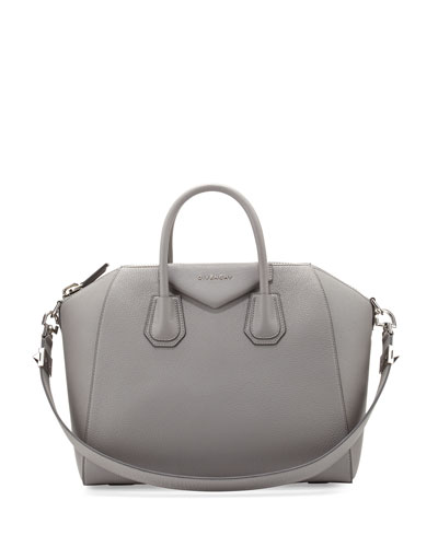 Antigona Medium Leather Satchel Bag, Gray