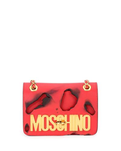 Small Burned-Print Shoulder Bag, Red