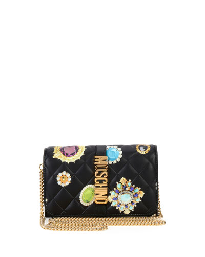 Brooches-Print Quilted Wallet-on-Chain, Black