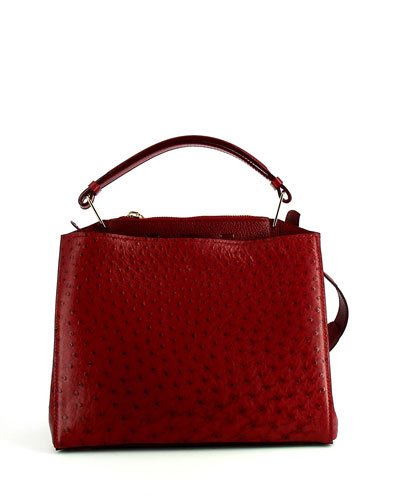 Seven Ostrich & Vitello Satchel Bag, Burgundy
