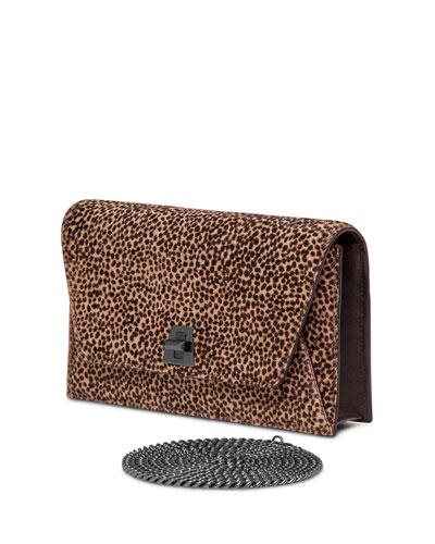 Anouk Calf-Hair Envelope Clutch Bag, Cheetah