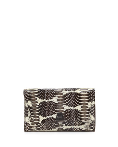 Anouk Mini Python Chain Envelope Clutch Bag, Ivory/Black