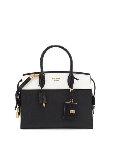 Esplanade Medium Bicolor City Satchel Bag, Black/White (Nero/Bianco)