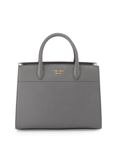 Bibliothèque Medium Saffiano Top-Handle Tote Bag, Dark Gray/White ...