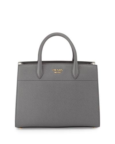 Bibliotheque Medium Saffiano Top-Handle Tote Bag, Dark Gray/White ...