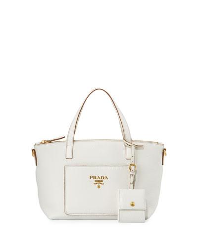 Small Vitello Diano Tote Bag, White (Bianco)