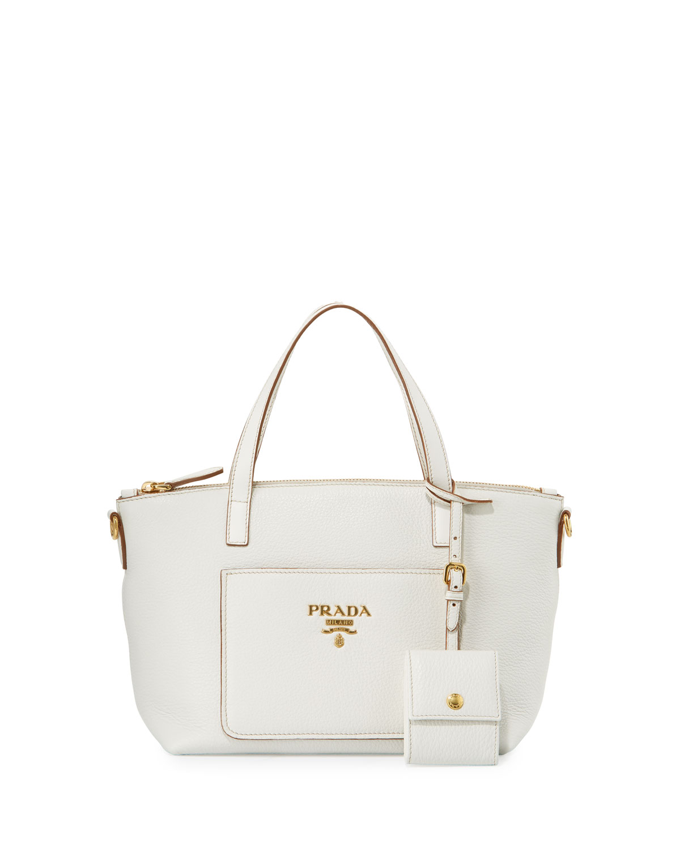 Small Vitello Daino Tote Bag, White (Bianco)