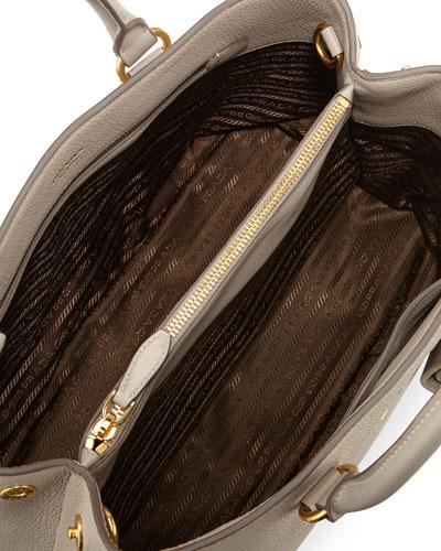 prada vitello daino medium open wide strap tote bag