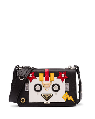 Robot Leather Shoulder Bag, Black/White (Nero/Talco)