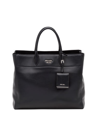 City Calfskin Tote Bag with Studded Strap, Black (Nero)